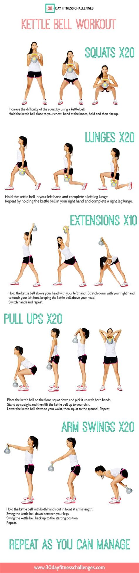 kettlebell workout kettle bell exercises workouts chart fitness challenge abs cardio exercise training challenges arms body fat motivation printable weight