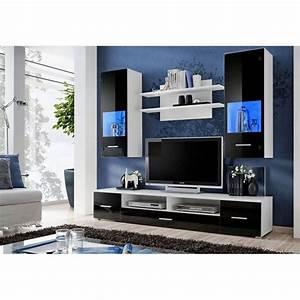 Meuble Tv Led Noir : ensemble meuble tv corte d coration s jour ~ Teatrodelosmanantiales.com Idées de Décoration