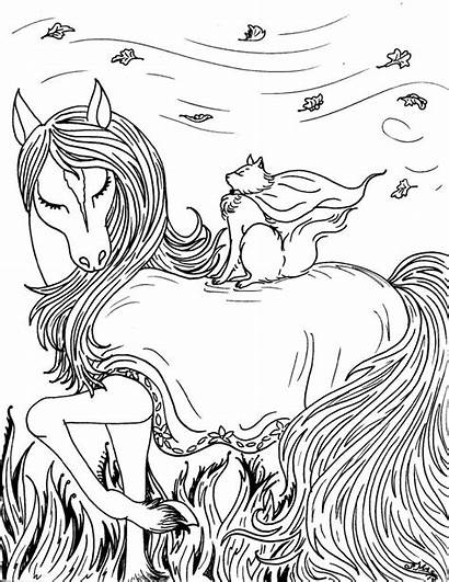 Fantasy Coloring Pages Printable Pretty Horse Adult