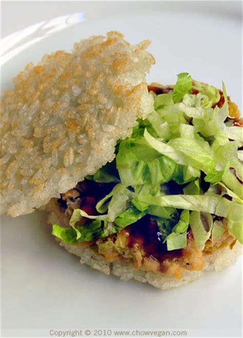 crispy rice burger chow vegan