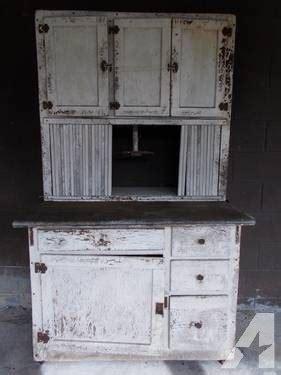 Primitive Farmhouse Hoosier Kitchen Cabinet with Zinc Top
