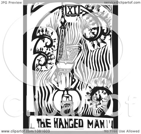 clipart black  white woodcut styled  hanged man