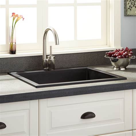 Black Drop In Kitchen Sink by 24 Quot Holcomb Drop In Granite Composite Sink Black Kitchen