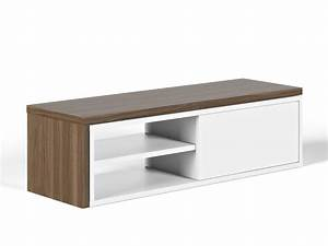 Meuble Bas Bois : meuble tv bas extensible en bois niches et porte coulissante l110 203cm move noyer blanc mat ~ Teatrodelosmanantiales.com Idées de Décoration