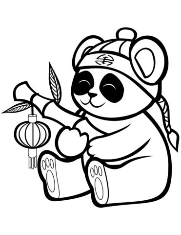 Cute Panda with a Bamboo Lantern coloring page Free