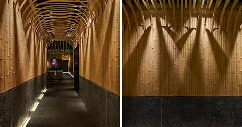 design detail  curved bamboo arch welcomes patrons