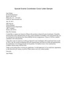 resume cover letter for event planner event coordinator cover letter sle resume format