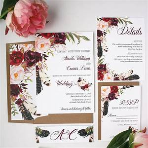 boho wedding invitations burgundy wedding invitations With burgundy wedding invitations etsy