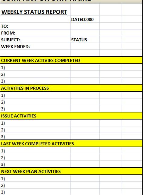 weekly status report template weekly status report template excel word templates