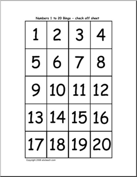 Bingo Cards Numbers 120 (check Sheet) Abcteach