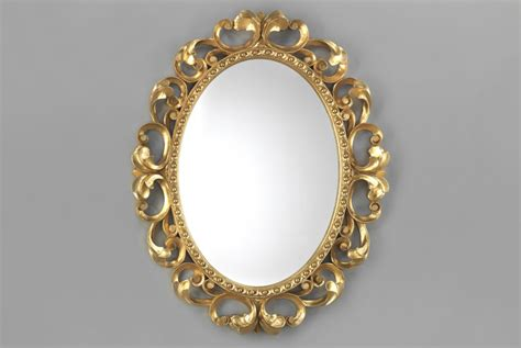 oval mirror carved gold frame luxury decor