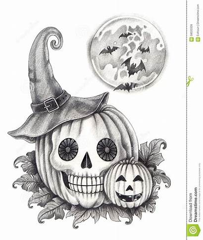 Halloween Pumpkin Drawing Skull Pencil Face Hand