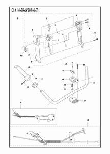 Husqvarna 545 Rx Trimmer Throttle Controls Spare Parts Diagram