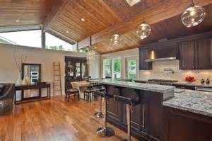 most efficient floor plans kitchen with wood paneled ceiling and skylight