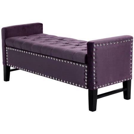Purple Storage Bench by Genesis Purple Velvet Storage Bench Tufted Silver