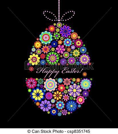 illustration  colorful easter egg  black background
