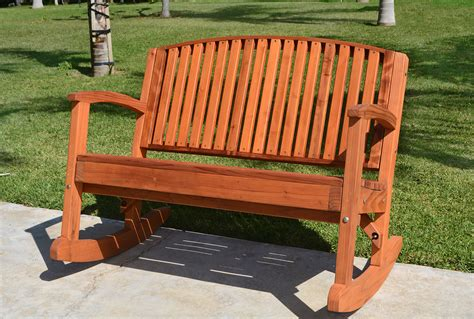 Benches : Outdoor Wooden Rocking Bench, Custom Redwood Benches