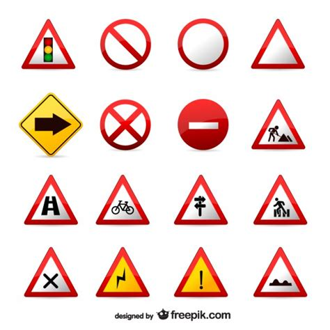 You signed in with another tab or window. Free Vector   Traffic signs set