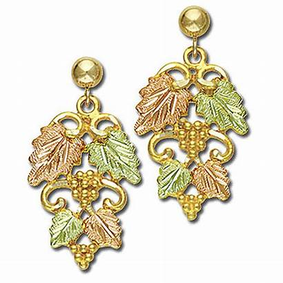 Gold Earrings Hills Leaves Grape Grapes Pierced