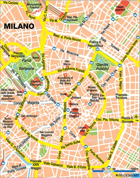 map  milan city  italy welt atlasde