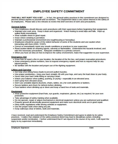 Contract For Safety Template by Safety Contract Templates 9 Free Word Pdf Format