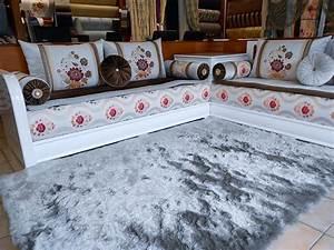 Salon Marocain Blanc : salon marocain blanc moderne salon deco marocain ~ Nature-et-papiers.com Idées de Décoration