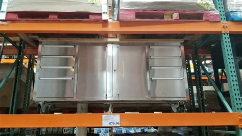 costco trinity stainless steel rolling wood top workbench