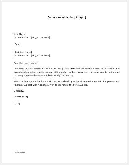 endorsement letters sample templates word document templates