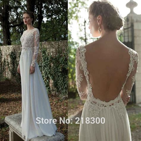 buy backless long sleeve lace wedding