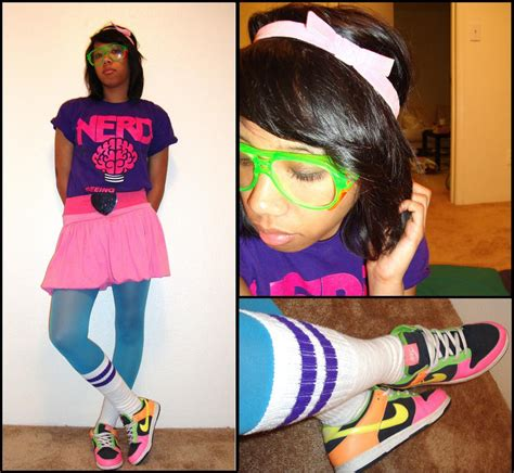 Nicole Cruz - Purple Striped Tube Socks N.E.R.D. Shirt From Concert Lab Goggles Target ...