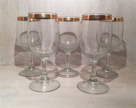 Vintage Gold Rimmed Wine Glasses (set Of 5) By