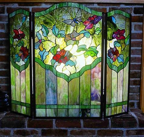 stained glass fireplace screen magnificent seaside stained glass cottage bungalow