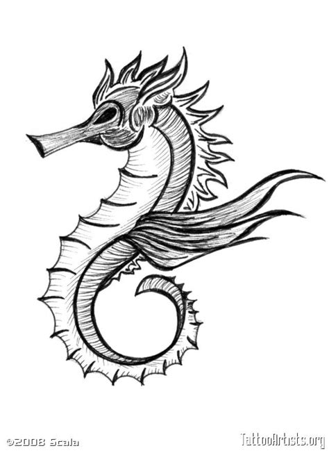 Seahorse tattoo - for my hubby, to match mine | Seahorse