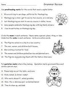 2nd grade grammar christmas thanksgiving grammar review worksheet for second grade language arts freebie teaching stuff
