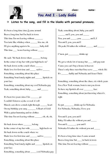 song worksheet    lady gaga pronoun