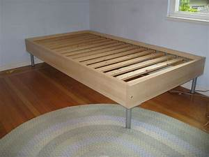 Simple Wooden Ikea Twin Size Bed Frame With Metal Legs On