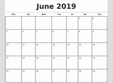 2019 Monthly Calendar Template printable weekly calendar