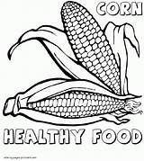 Coloring Pages Corn Food Printable Healthy Print sketch template