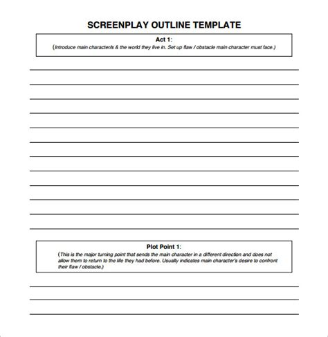 Free Script Template by Screenplay Outline Template 7 Free Sle Exle