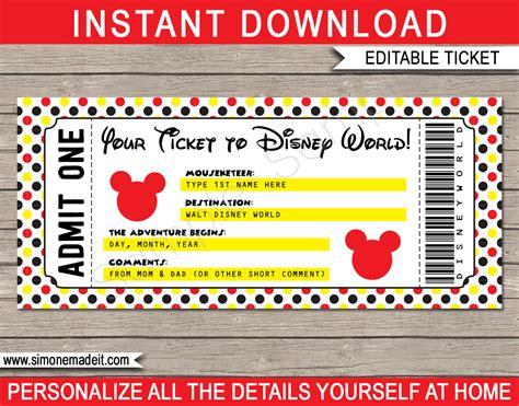 printable ticket  disney world walt disney world
