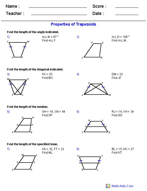 properties of trapezoids worksheets education