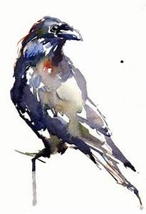 RAVEN Watercolor Bird Art Print By Dean Crouser | Limited ...