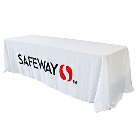 Table Drape With Logo - 8 foot custom white drapedtable cloth with logo