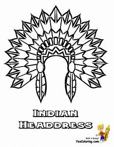 coloring for kids indian headdress at yescoloringcom With indian headdress template