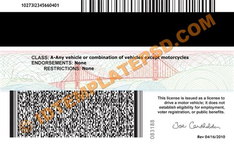California Id Template California Driver License Psd Template Ids