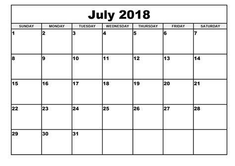 2018 Monthly Calendar Template July 2018 Calendar Template Calendar Monthly Printable