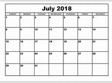 July 2018 Printable Calendar yearly printable calendar