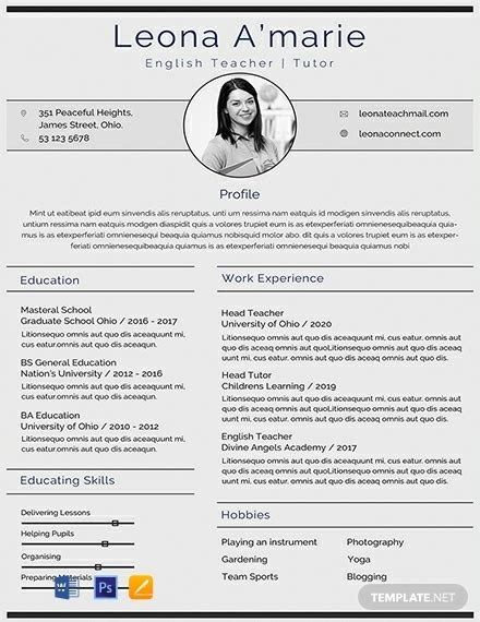 english teacher cv template   resume