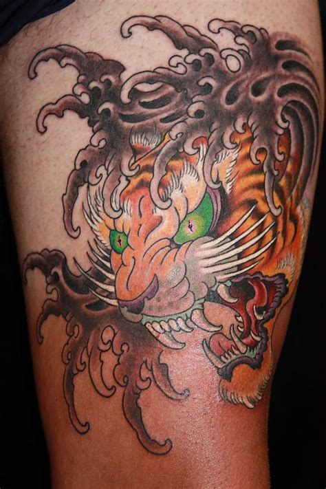 Water Waves And Japanese Tiger Head Tattoo  Tattoo Diggs