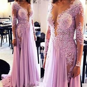 fashion light purple prom dresses lilac dress appliques ...